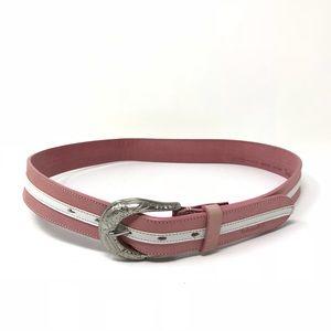 Timberland Sz M Belt Pink White Leather Western